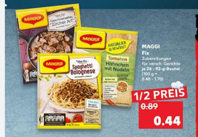 [Kaufland] Maggi Fix 6x für 0,19€/Stk durch 1,50€ Coupon