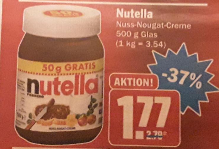 Nutella 450g + 50g gratis für 1,77 € ( 3,54 €/kg) @ HIT Märkte bundesweit ab 11.02.