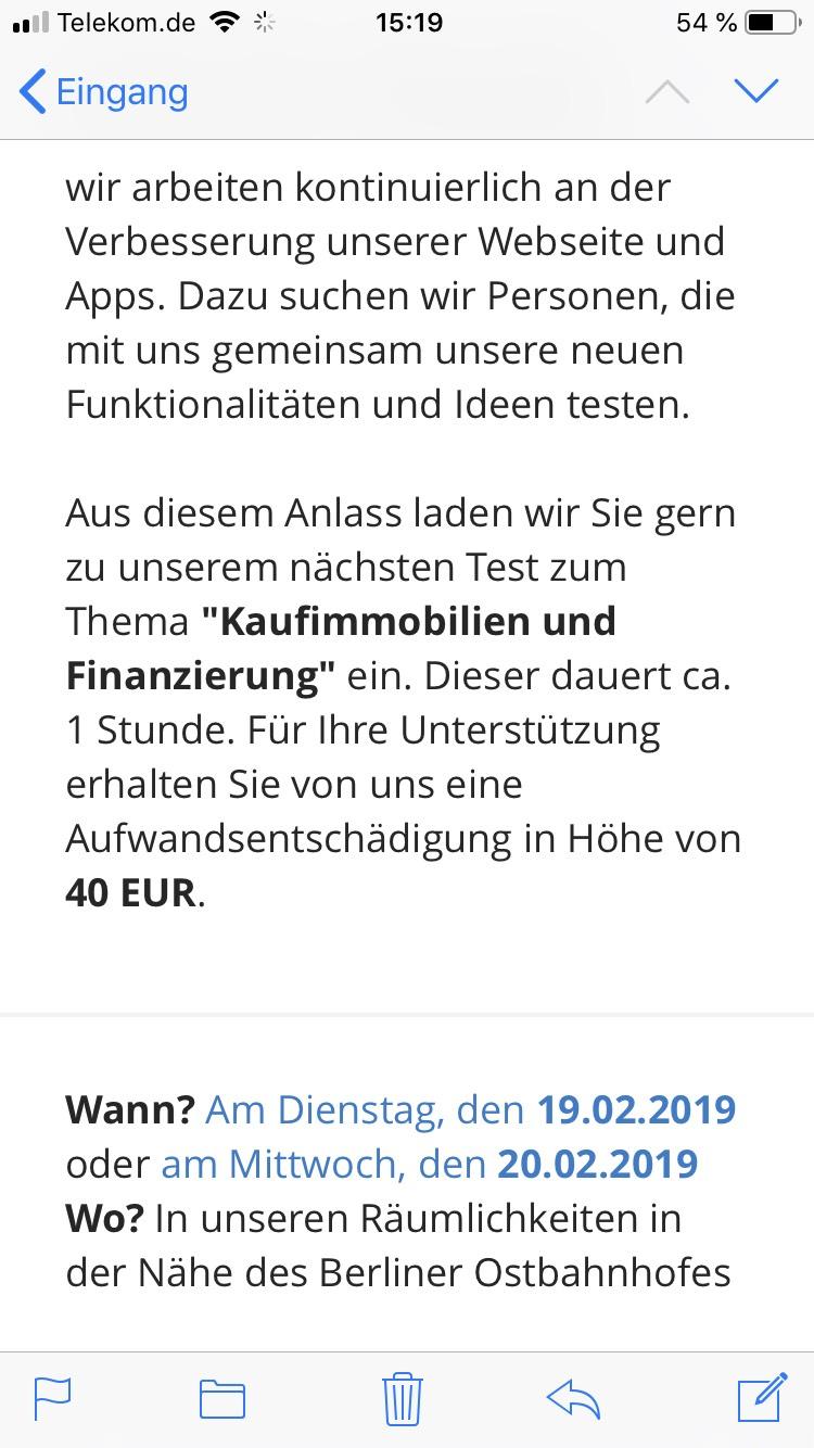 [LOKAL Berlin] ImmobilienScout24 Tester gesucht 40€ Entschädigung