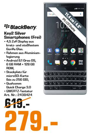 [Lokal: Saturn Solingen] BlackBerry Key2 64GB silber | BlackBerry KEYone 64GB für 179€