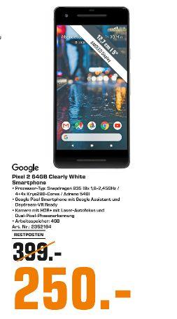 """[Regional Saturn Magdeburg] Google Pixel 2  64 GB Schwarz Weiß 5.0"""" LTE 4 GB Bluetooth 12.2MP/8MP Android 8.0.0 Oreo für 250,-€"""