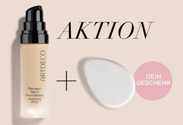 Gratis Make-Up Sponge zur Perfect Teint Foundation + zwei Sachets der Perfect Teint Foundation + GRATIS Beauty Bag zur Bestellung ab 40€