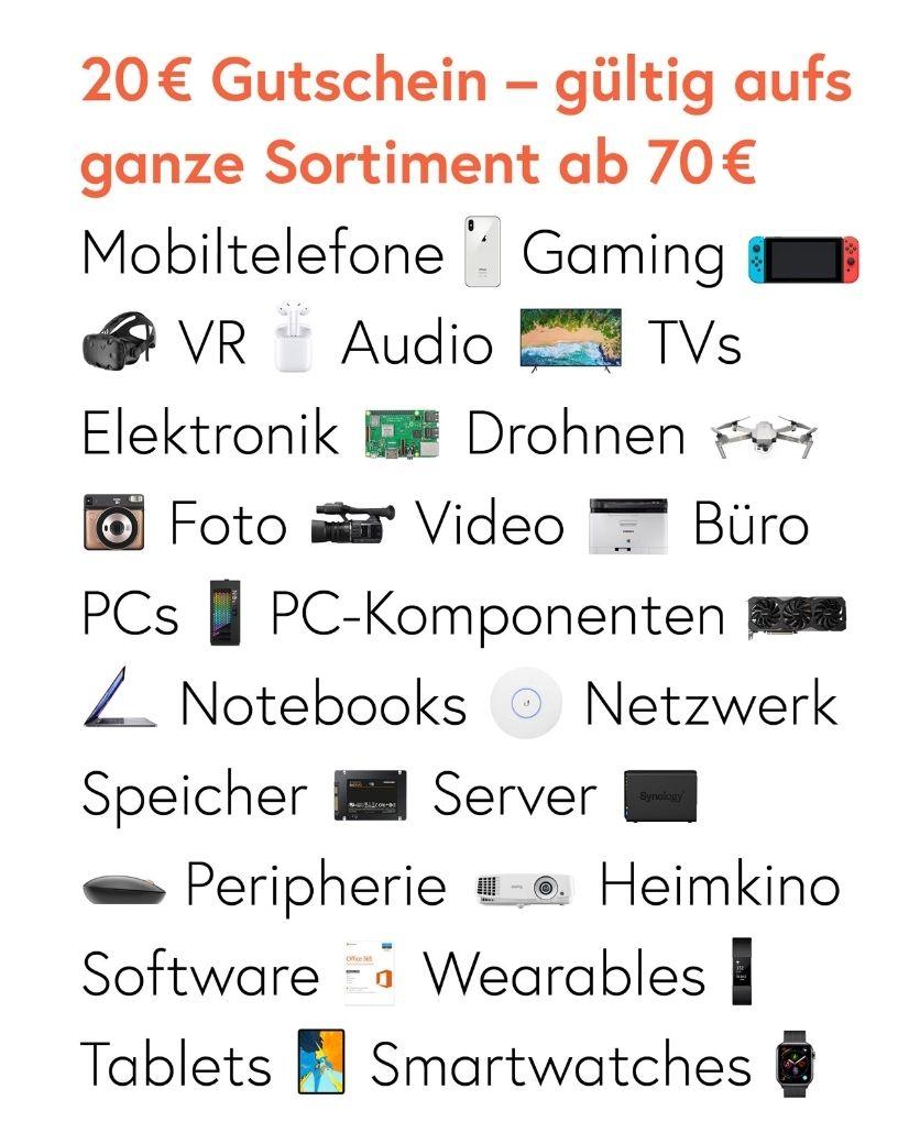 20€ Rabatt auf das ganze Sortiment MBW 70€ [Galaxus] Hardware, Software, Gaming, Zubehör, Handys uvm.