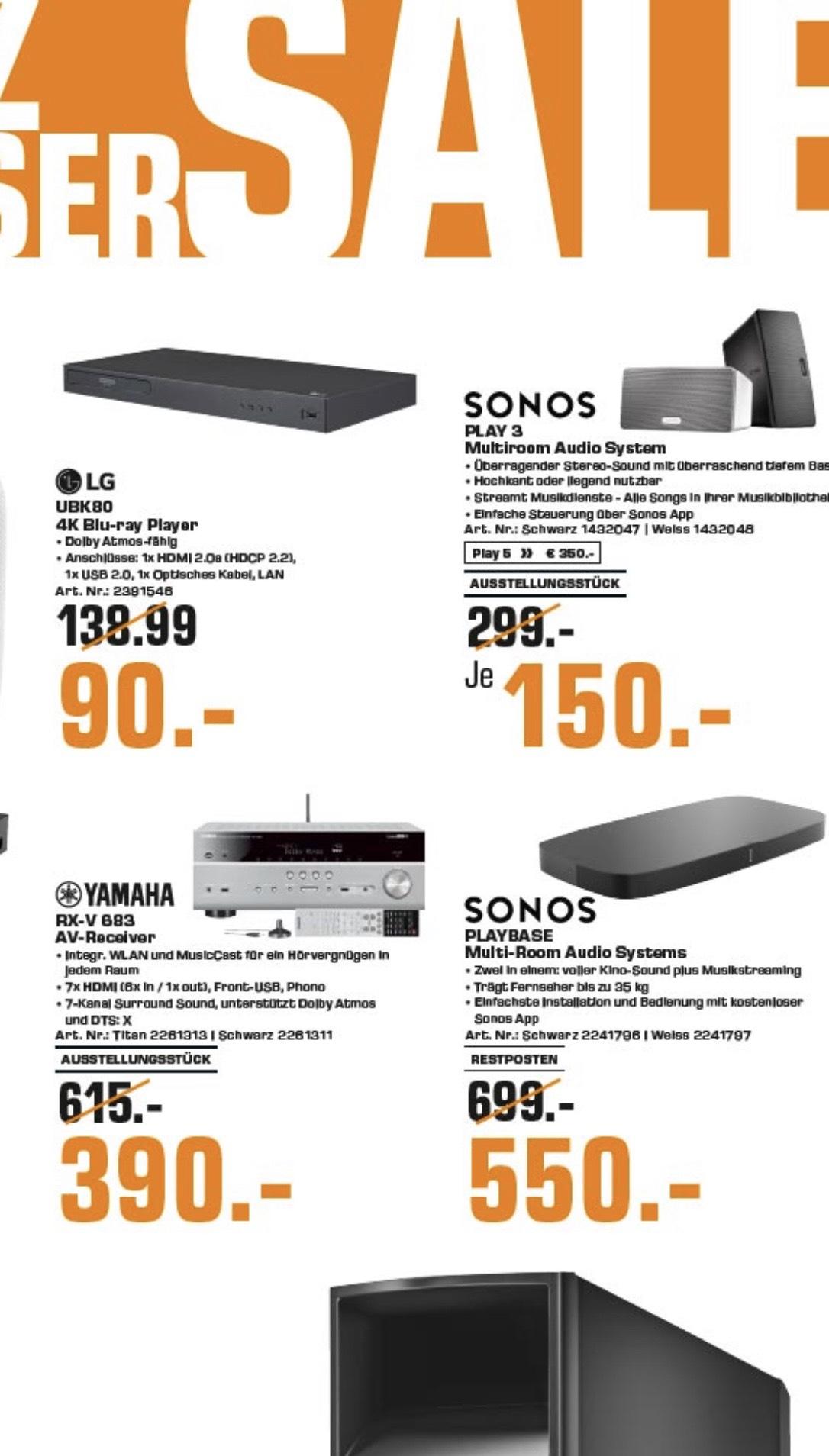 [lokal Saturn Magdeburg] Sonos Play 3 (Aussteller) für 150€ und Play 5 für 350€, Playbase für 550€