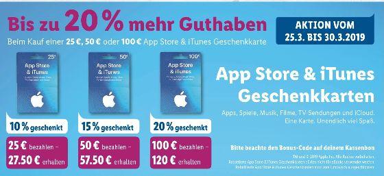 [Lidl ab 15.04] Zwischen 10% und 20% mehr Guthaben auf App Store &Itunes Karten