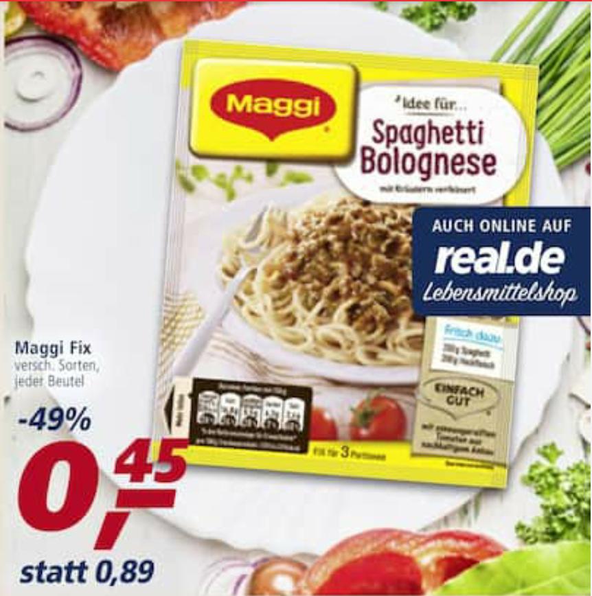 [Real] Maggi Fix 6x für 0,20€/Stk durch 1,50€ Coupon