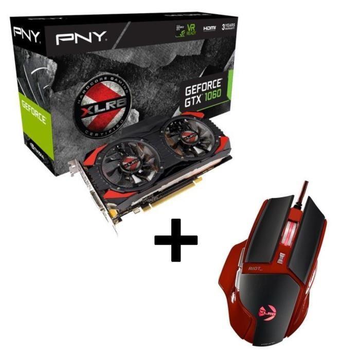 PNY GeForce GTX 1060 XLR8 OC Gaming + PNY Riot O1 Gaming Maus für 184,98€ (Cdiscount)