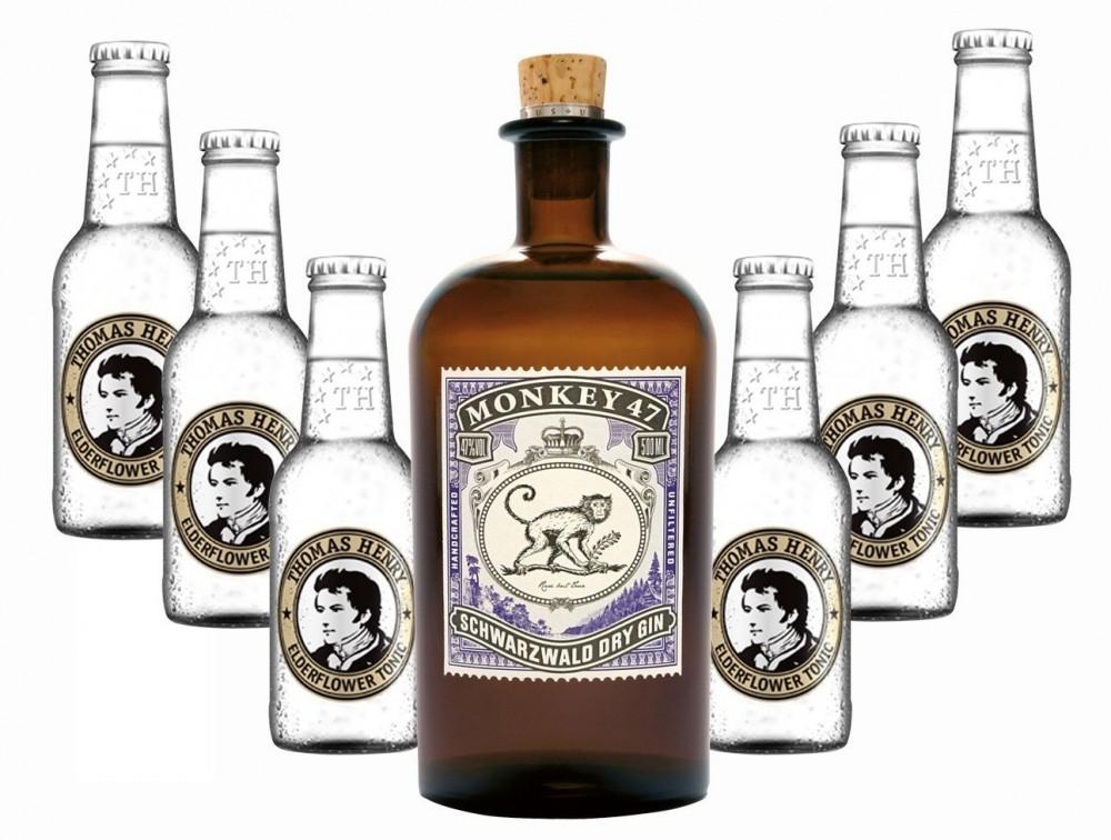 Monkey 47 Gin + 6x Thomas Henry Elderflower Tonic Water 0,2l bei [Rakuten] mittels Paydirekt-Gutschein