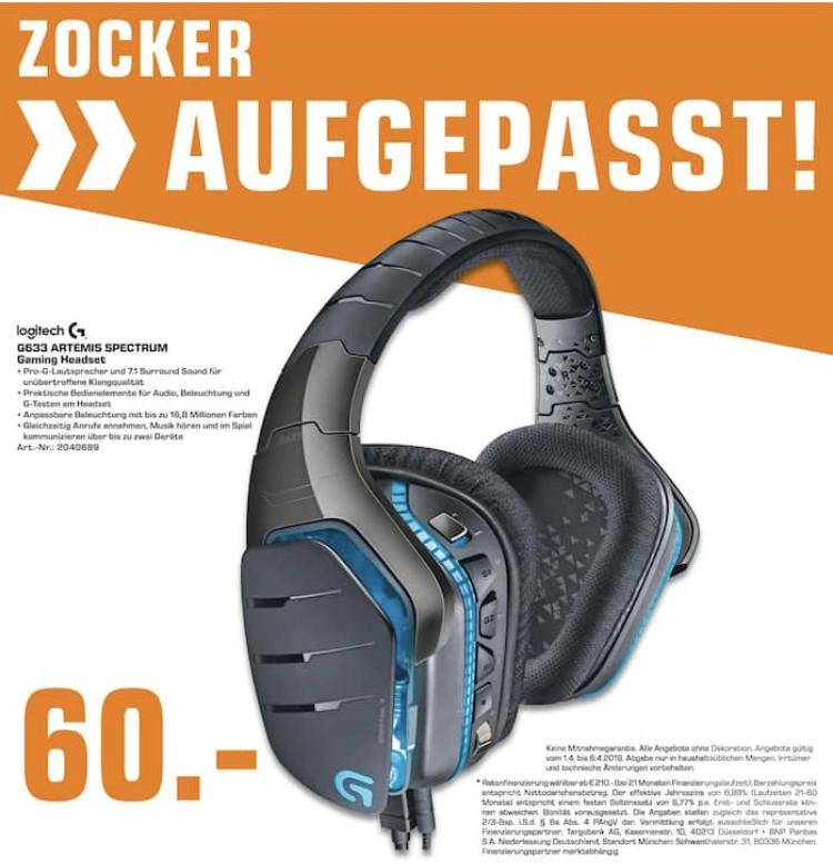 [Lokal: Saturn Berlin & Umgebung] Logitech G633 Artemis Spectrum Pro Wired Gaming-Headset (Dolby Surround Sound, PC, Xbox One, PS4) schwarz