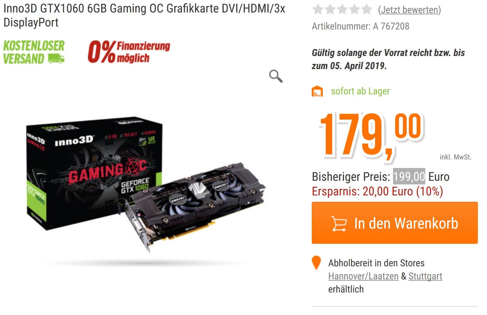 Inno3D GTX1060 6GB Gaming OC DVI/HDMI/3x DisplayPort ohne Versandkosten dazu Fortnite Bundle
