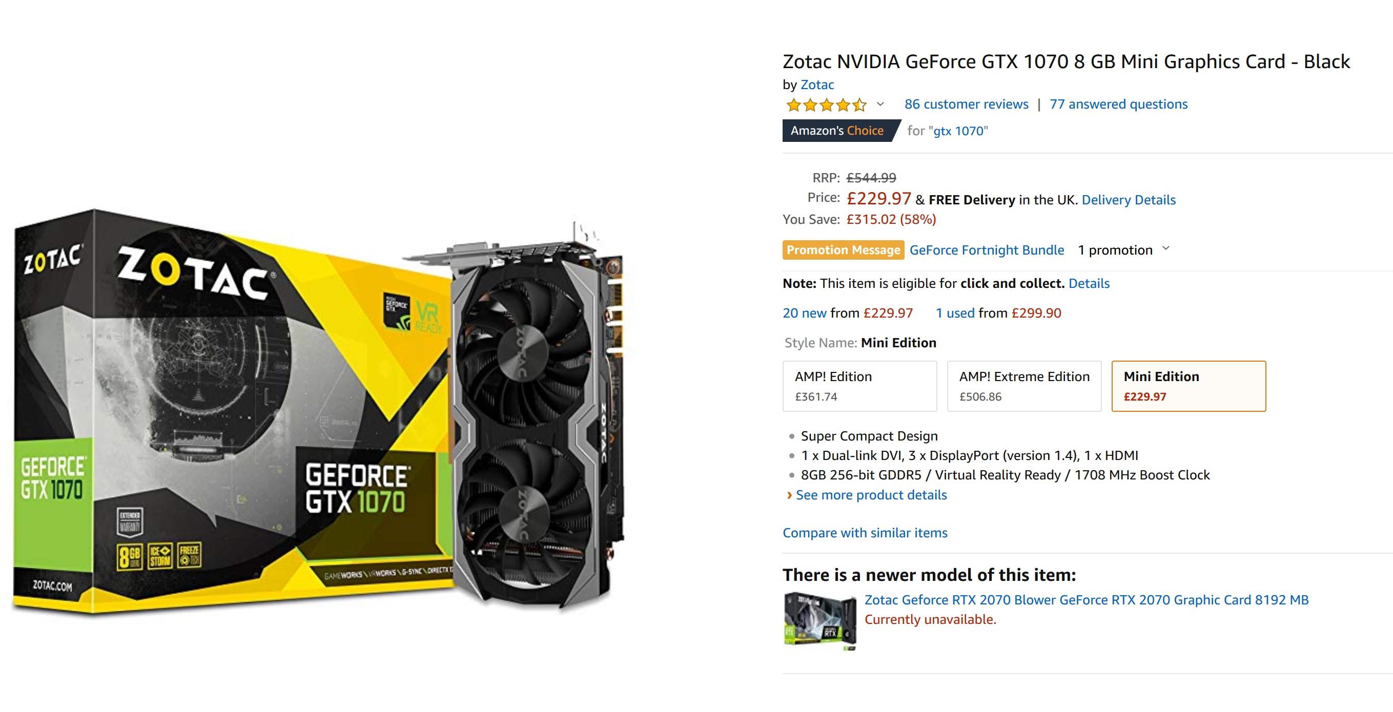 Zotac NVIDIA GeForce GTX 1070 8 GB Mini Graphics Card - Black in amazon.co.uk
