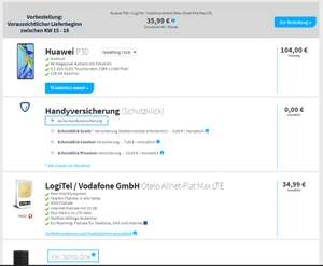 Huawei P30 + Sonos One mit Otelo Allnet-Flat Max 10 GB LTE (vodafone) für 34,99 € mtl. + 99 € Zuzahlung.