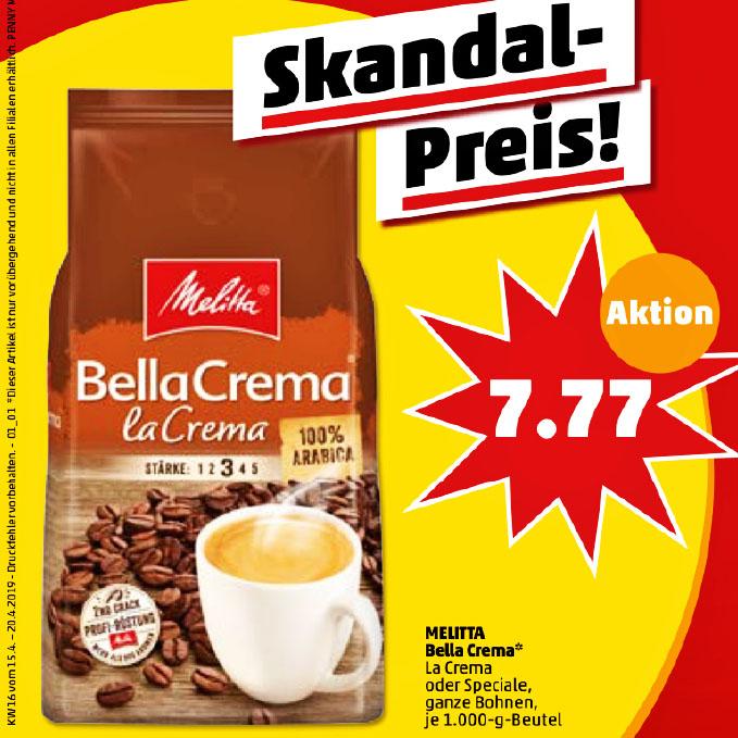 Melitta Bella Crema, verschiedene Sorten 1 kg für nur 7,77€ bei ( Penny )