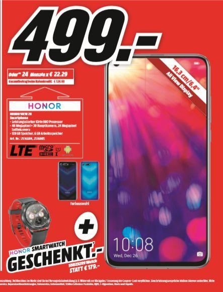 [Regional Mediamarkt Hamburg] HONOR View 20 Smartphone 128GB Midnight Black o. Sapphire Blue + GRATIS Honor Watch Magic für zusammen 499€