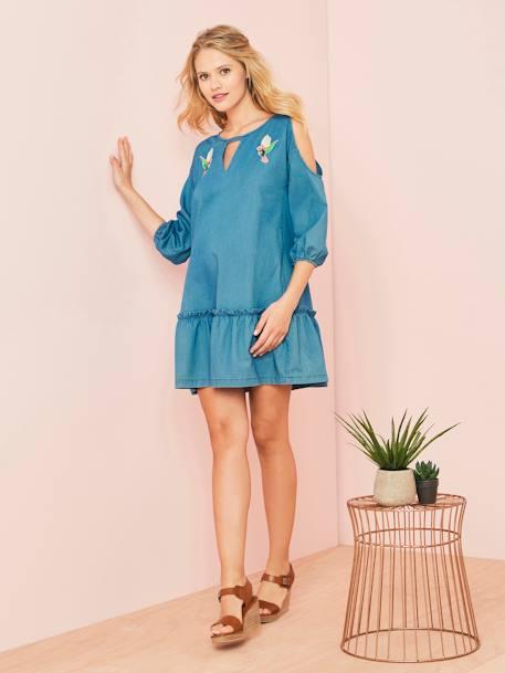 Besticktes Jeanskleid für die Schwangerschaft im Flash-Sale bei [vertbaudet]