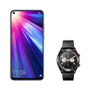 HONOR View 20 - 128GB Smartphone (6,4 Zoll, 4000mAh, Dual-SIM, Android 9.0) + Honor Magic Watch + HONOR Protective Cover