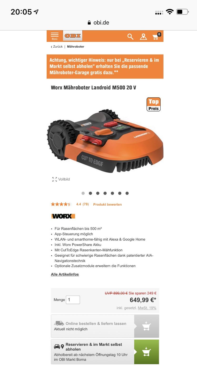 WORX M500 (inkl. Garage 149€)  - Aktion bei Obi