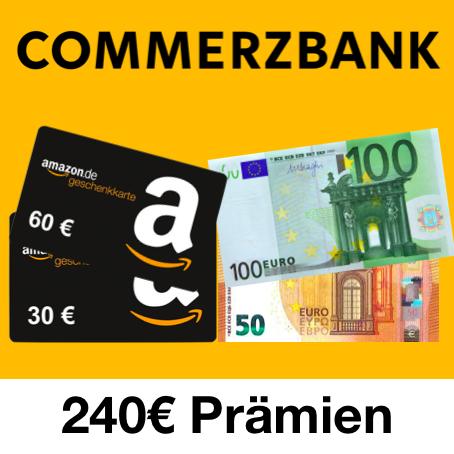 Commerzbank Girokonto mit bis zu 240€ Prämien (60€ Eröffnungs- & 100€ Nutzungsbonus + 80€ KWK) - bedingungslos kostenlos ohne Geldeingang