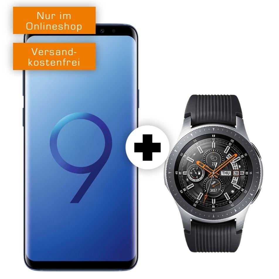 Samsung Galaxy S9+ und Watch 46mm BT im O2 Free M (10GB LTE, Allnet/SMS) mtl. 29,99€ und einmalig 49€ [Ankauf 6,61€ mtl.]