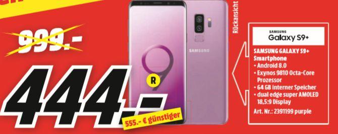 [Regional Mediamarkt Zella-Mehlis] Samsung Galaxy S9+ 64GB Lilac Purple für 444,-