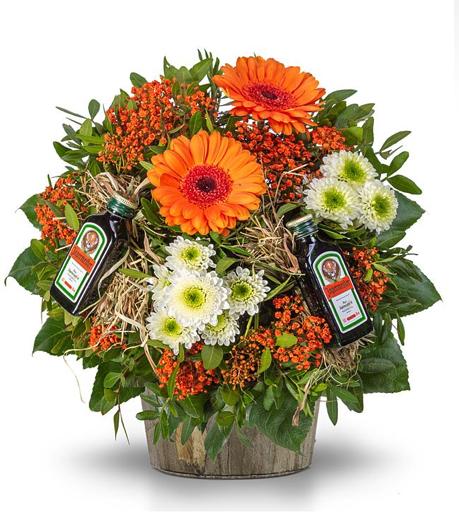 25% Rabatt auf alle Blumengeschenke zum Vatertag bei [real Blumen] z.B. Strauß Kräuterspaß mit Jägermeister