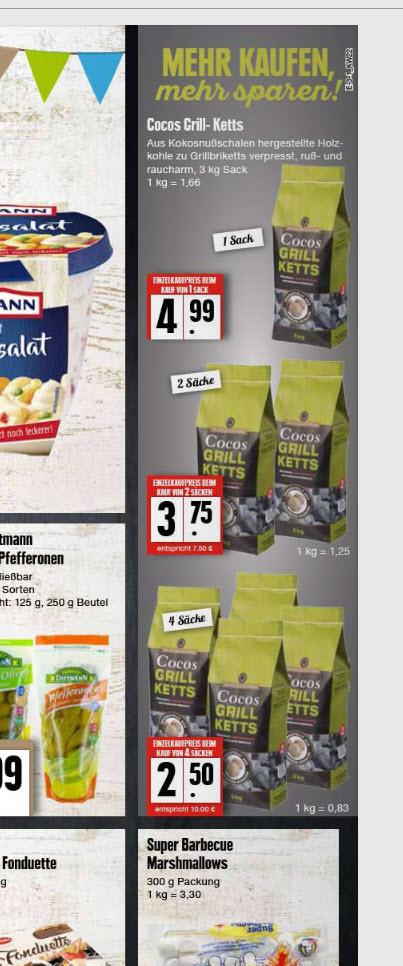 4 Sack -- Cocos Grillketts aus Kokosnuss-Schalen  für 10€  EDEKA Nord