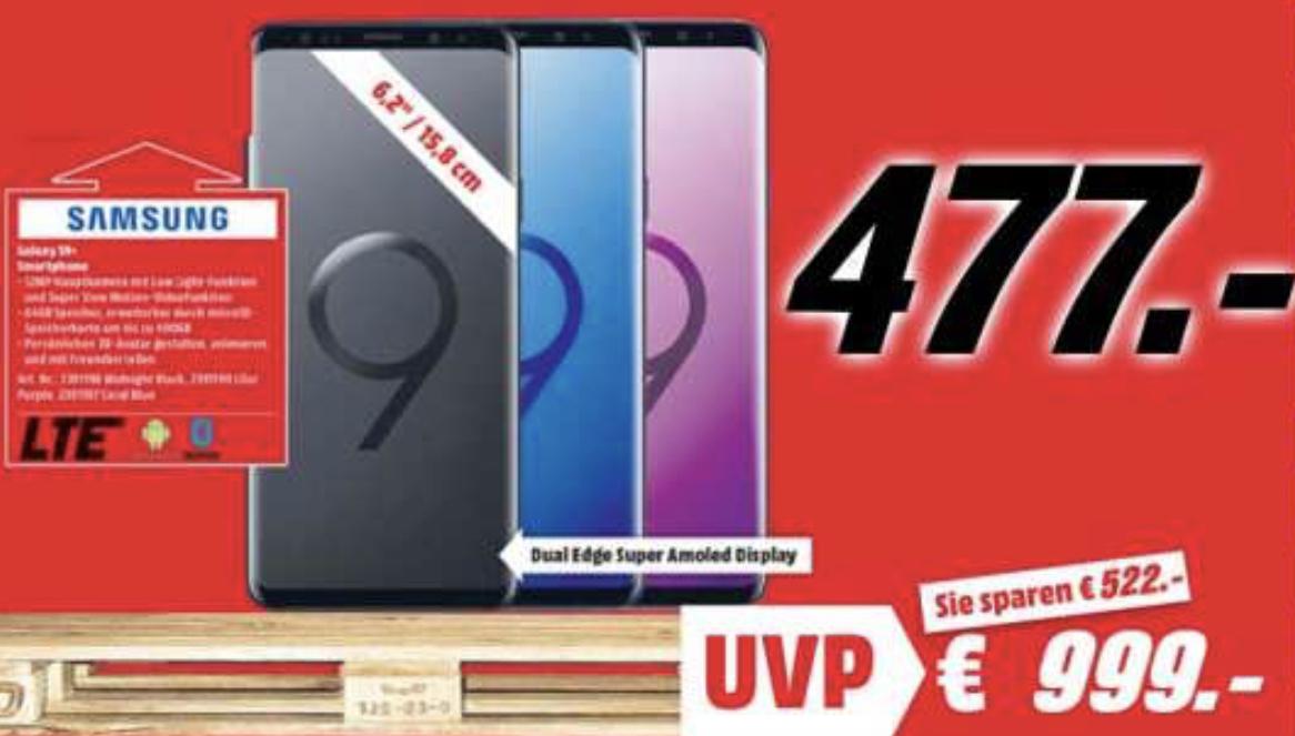 Lokal MediaMarkt Buxtehude: Samsung Galaxy S9+ PLUS 64GB Midnight Black, Lilac Purple, Coral Blue oder Sunrise Gold für 477€