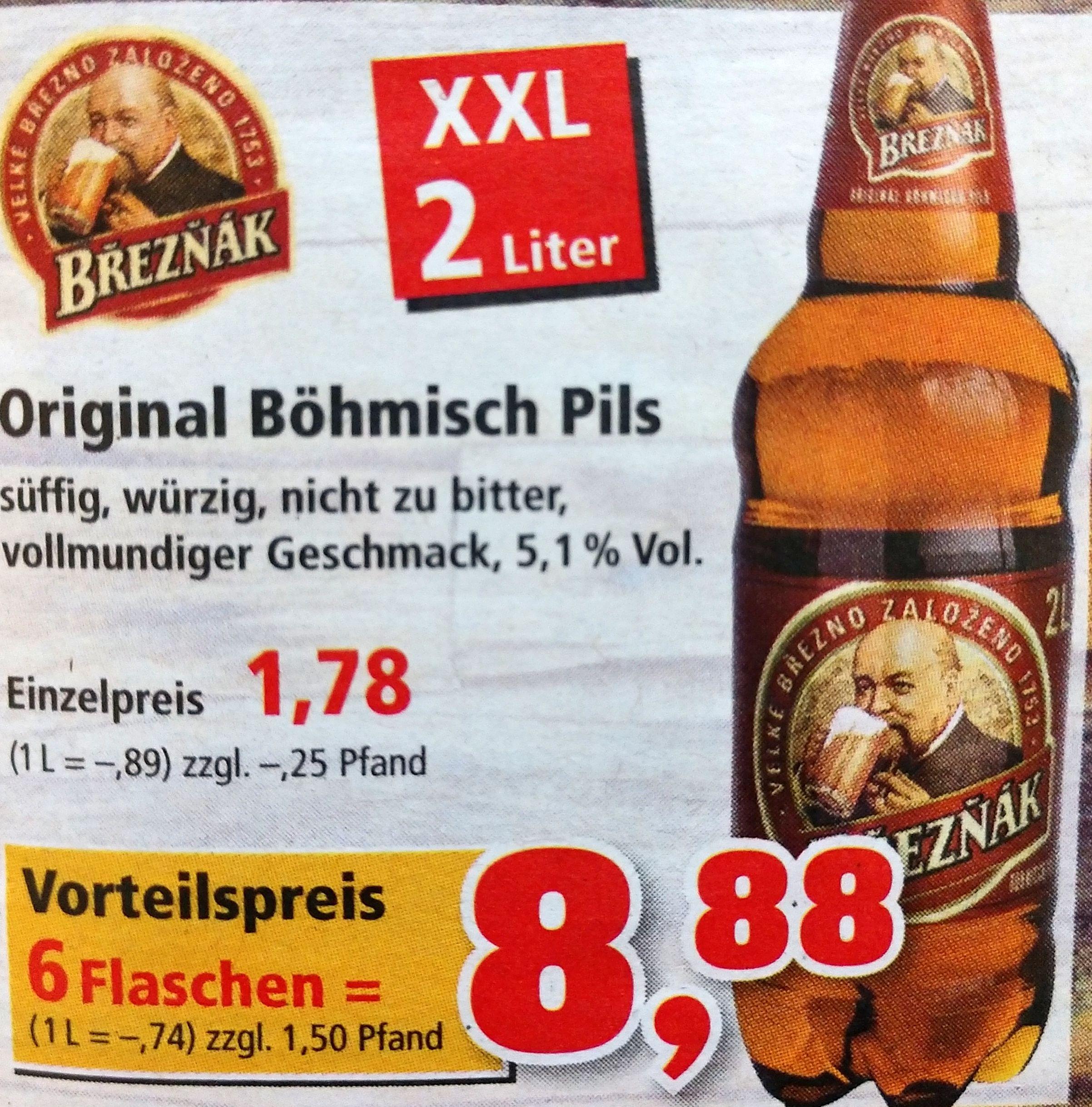 6x 2 Liter-Flaschen Breznak Original Böhmisch Pils für 8,88€ (0,74€/L) bei Thomas Philipps ab dem 03.06.