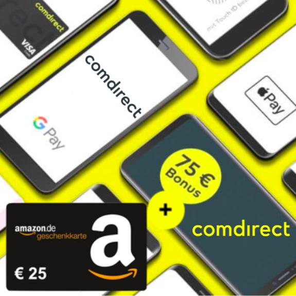 comdirect Girokonto mit bis zu 100€ Bonus für 3 mobile Zahlungen mit Apple Pay oder Google Pay ab 0,01€ (Neukunden)