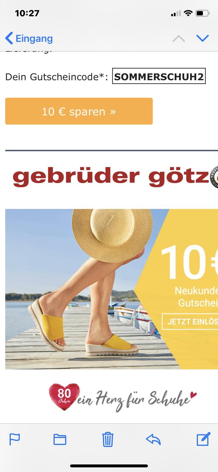 10€ für Schuhe bei gebrüder götz bei 69€ MBW