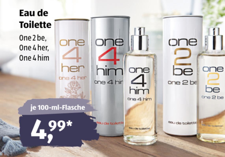 Aldi Süd Duft Klone one2be one4her one4him 100 ml 4,99 Euro ab dem 17.06.