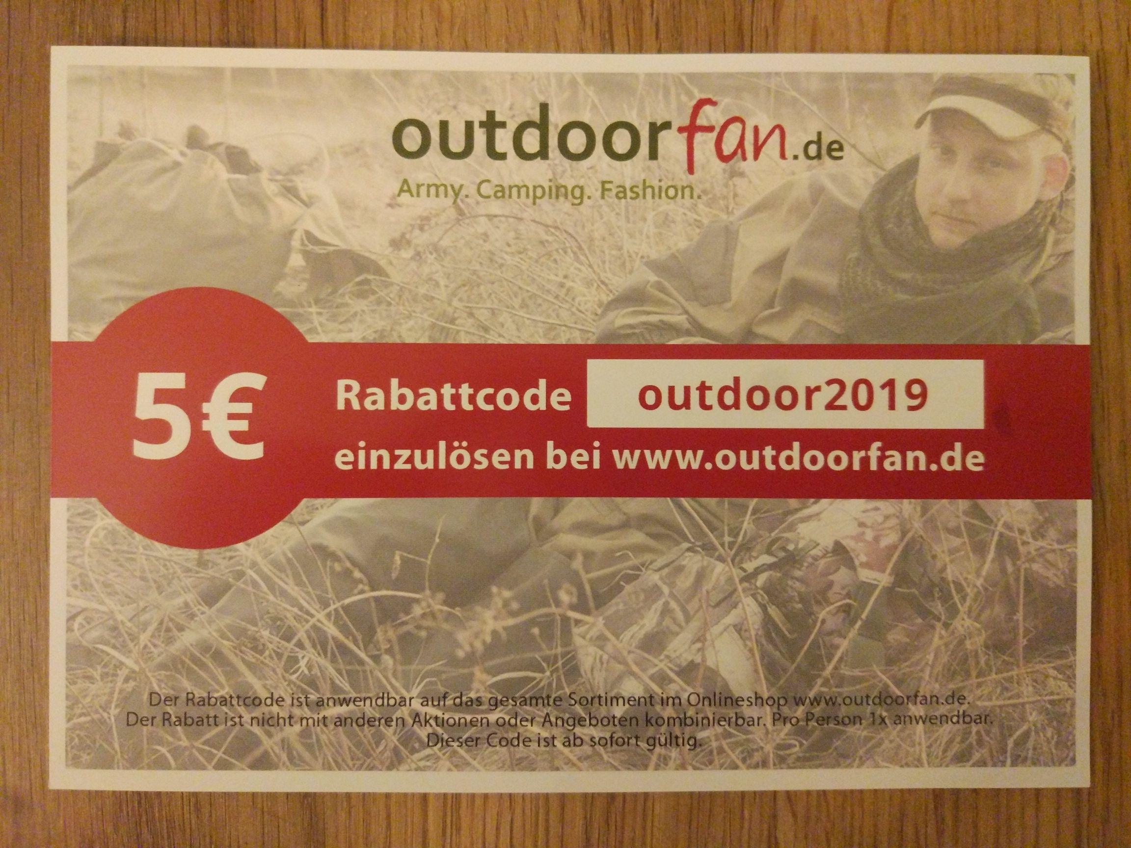 5€ Rabattcode bei outdoorfan.de