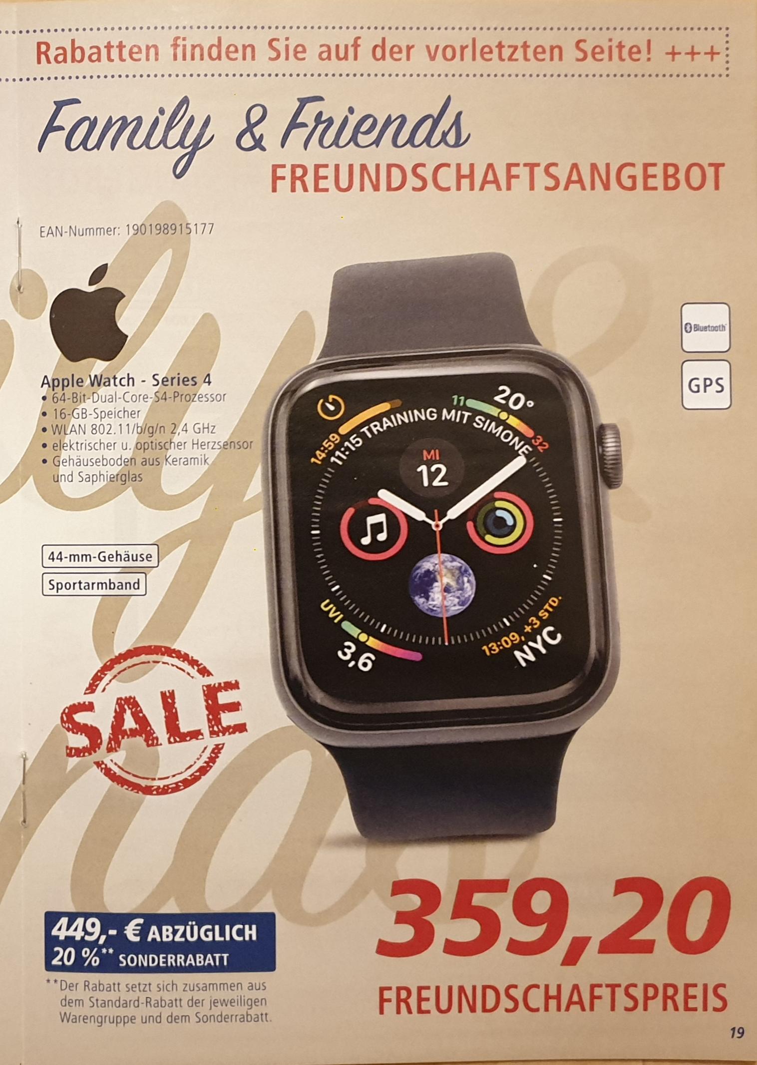 Apple Watch - Series 4, 64-Bit Dual Core, 16 GB Speicher, 44mm Gehäuse, Bluetooth, GPS, WLAN [ am 02./03.08.19 bei REAL Family & Friends]