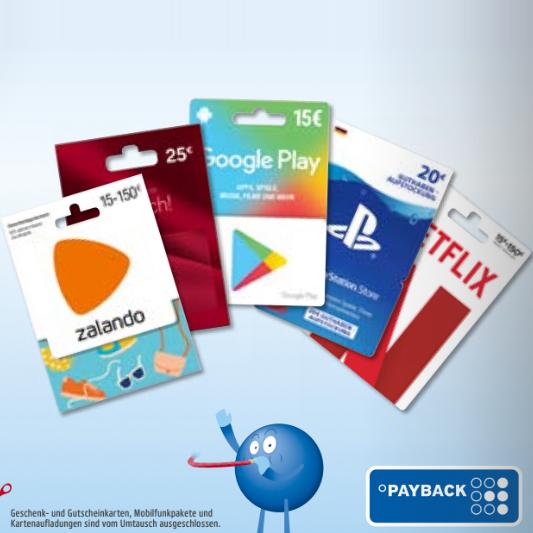 [Rewe & Penny] Dauerhaft Payback Punkte beim Kauf von Geschenkkarten ab 05. August 2019