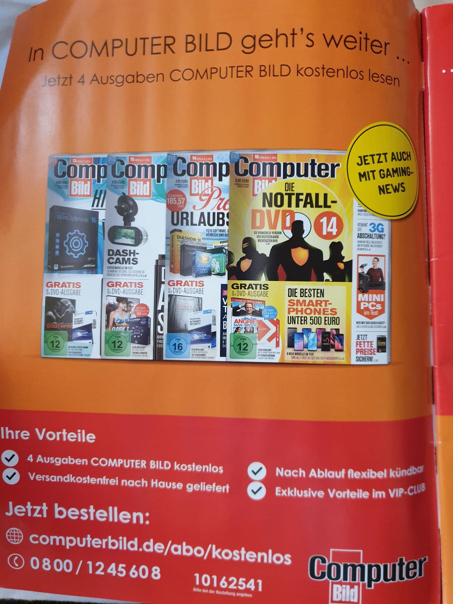 ComputerBILD 4 Ausgaben Gratis (Kündigung notwendig)