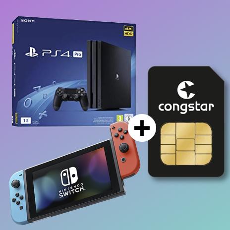 Congstar Allnet Flat (8GB LTE) mtl. 25€ + Nintendo Switch & 35€ eShop Gutschein (4,99€ ZZ) od. Sony PlayStation 4 Pro 1TB (33€ ZZ)