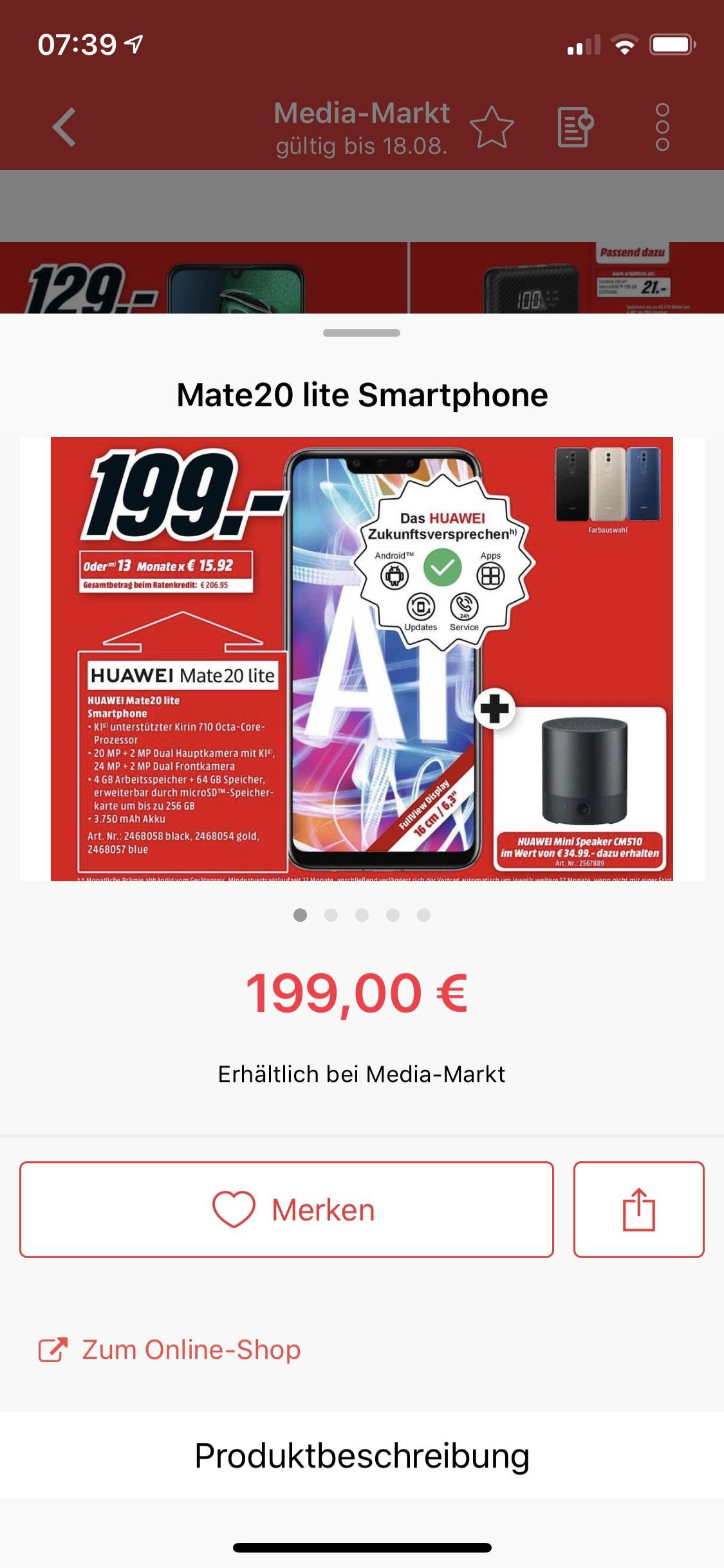 [Media Markt] Huawei Mate 20 Lite inkl. Bluetooth Lautsprecher für 199€