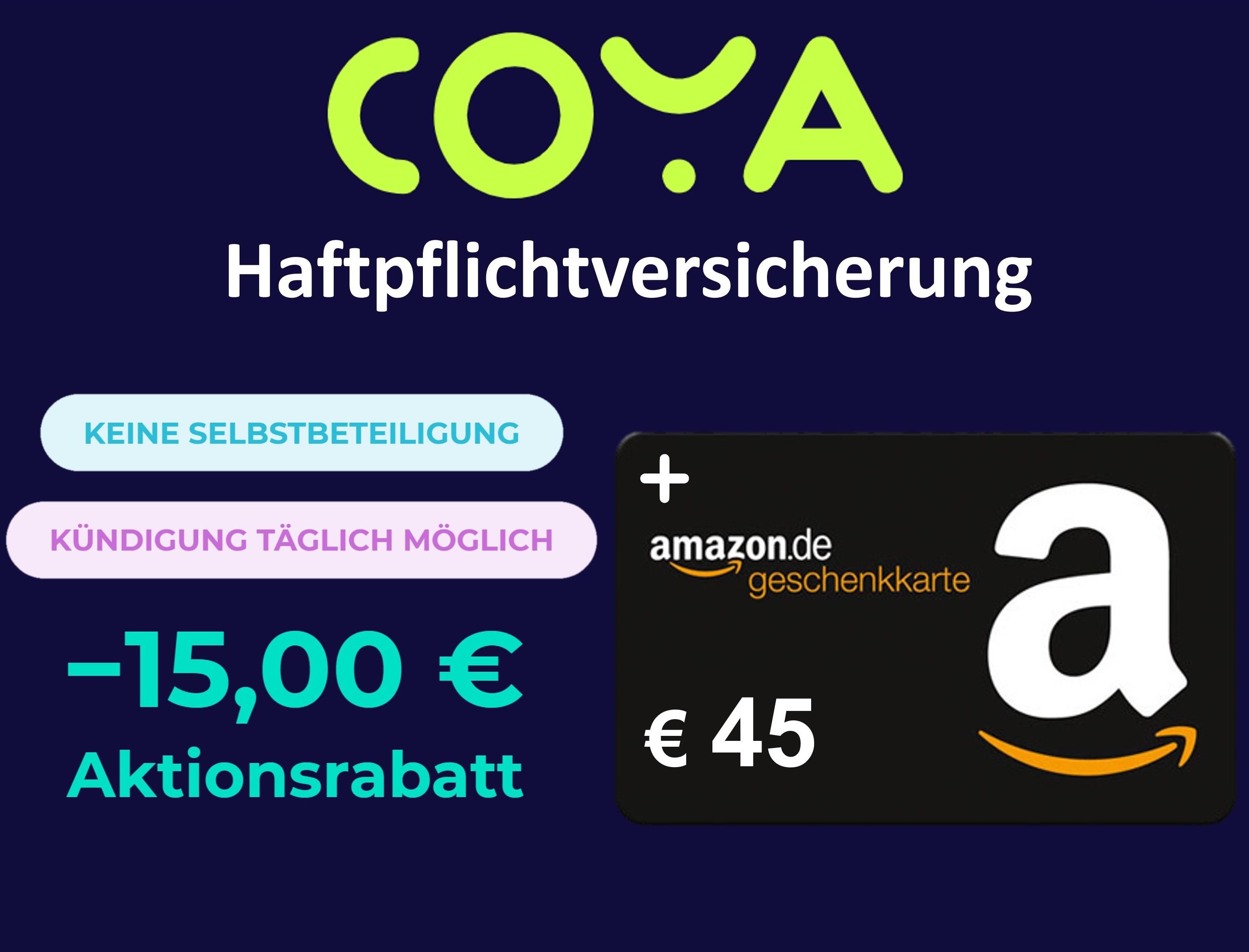 Eff. 33€ Gewinn mit Coya Haftpflichtversicherung & 45€ Amazon Gutschein + 15€ Rabatt für Singles & Familien [Neukunden, Premium Tarif]