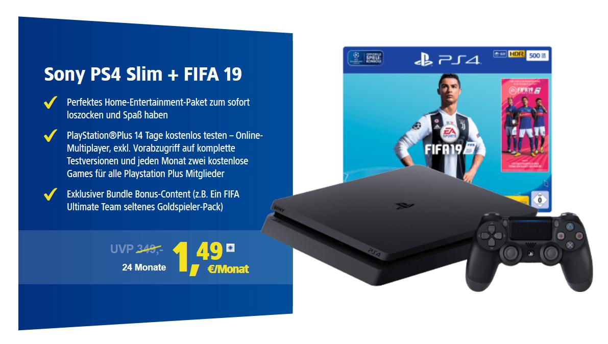 Wechsel zu 1&1 DSL mit TOP-Zugabe-Aktion: z.B. Sony PS4 Slim + FIFA 19 (Vergleichspreis: 289 €) für 1,49 € mtl.