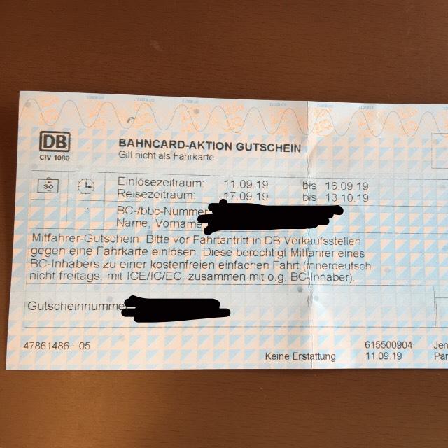 [Bahncard Inhaber, evtl. lokal?] Mitfahrer Gutscheine am DB Automaten