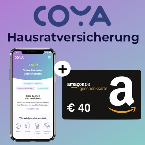 Coya Hausratversicherung ab mtl. 1,79€ + 40€ Amazon Gutschein für Neukunden (eff. kostenlose Versicherung & Gewinn möglich, täglich kündbar)
