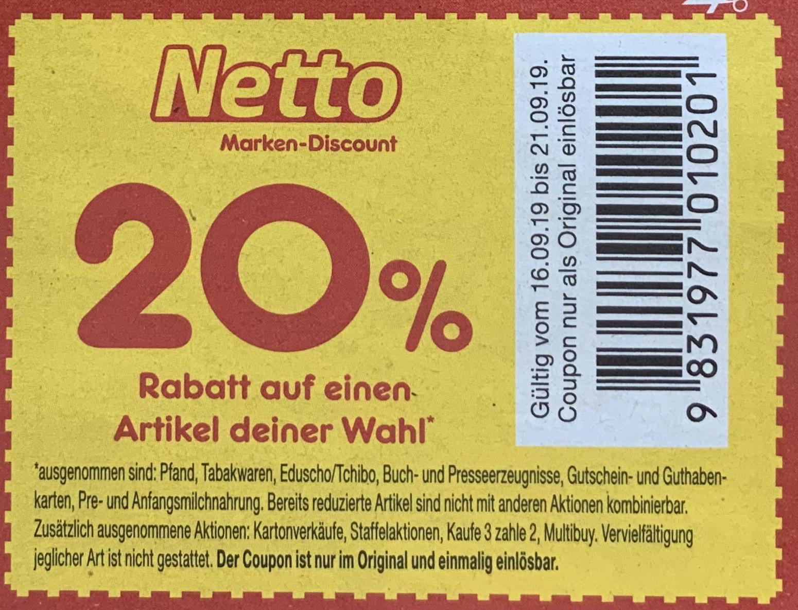 Netto Marken Discount: 20% bzw. 10% Rabatt auf einen Artikel deiner Wahl / lokal im Prospekt, aber evtl. bundesweit nutzbar