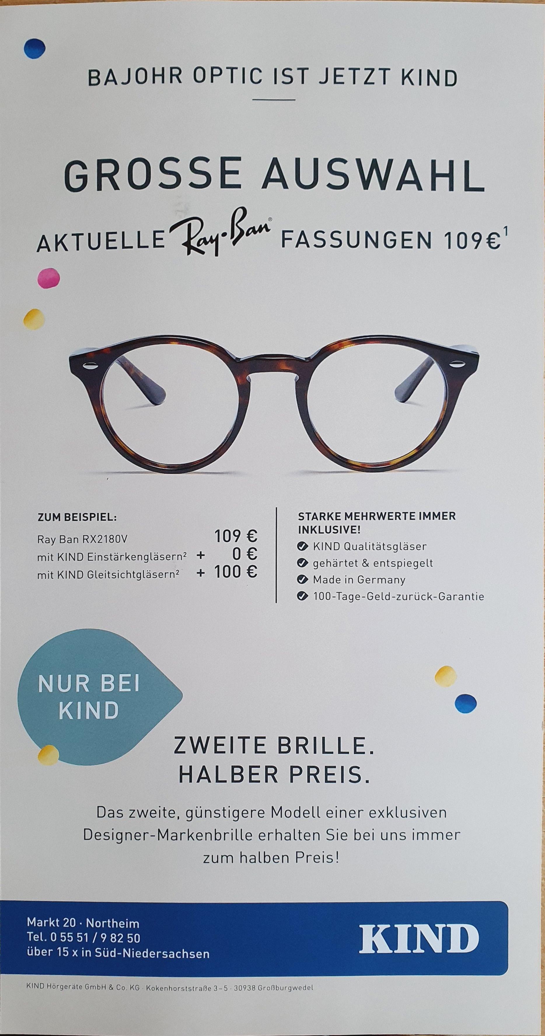 KIND alle Ray-Ban Brillen für 109€ [15x in Süd-Niedersachsen]