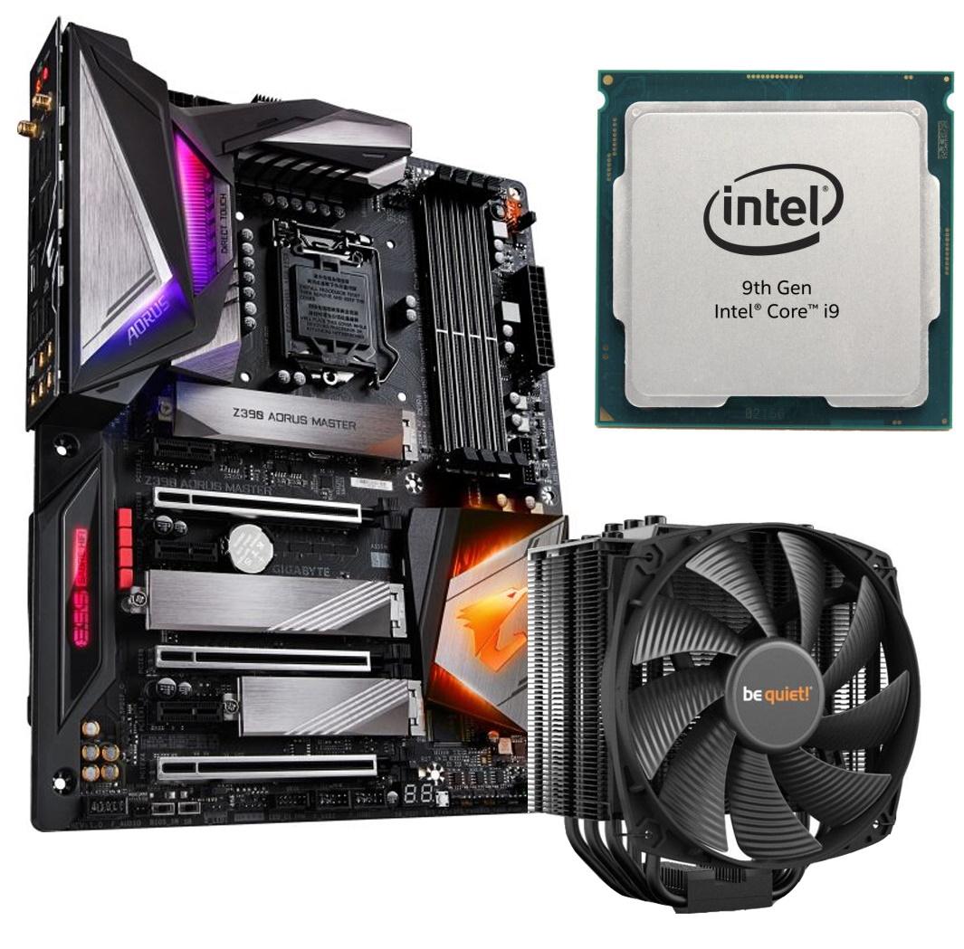 Kombi-Angebote für Intel-CPU + Mainboard: z.B. Intel Core i9-9900K + GigaByte Z390 Aorus Master + bequiet! Dark Rock 4