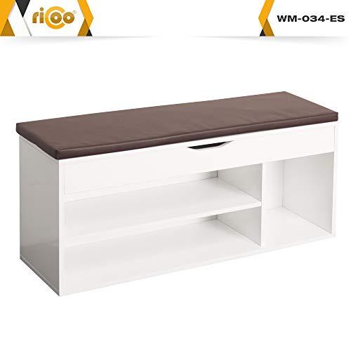 (Amazon Blitzdeal Prime) RICOO Schuhregal mit Sitzfläche WM034-W-B Sitzbank