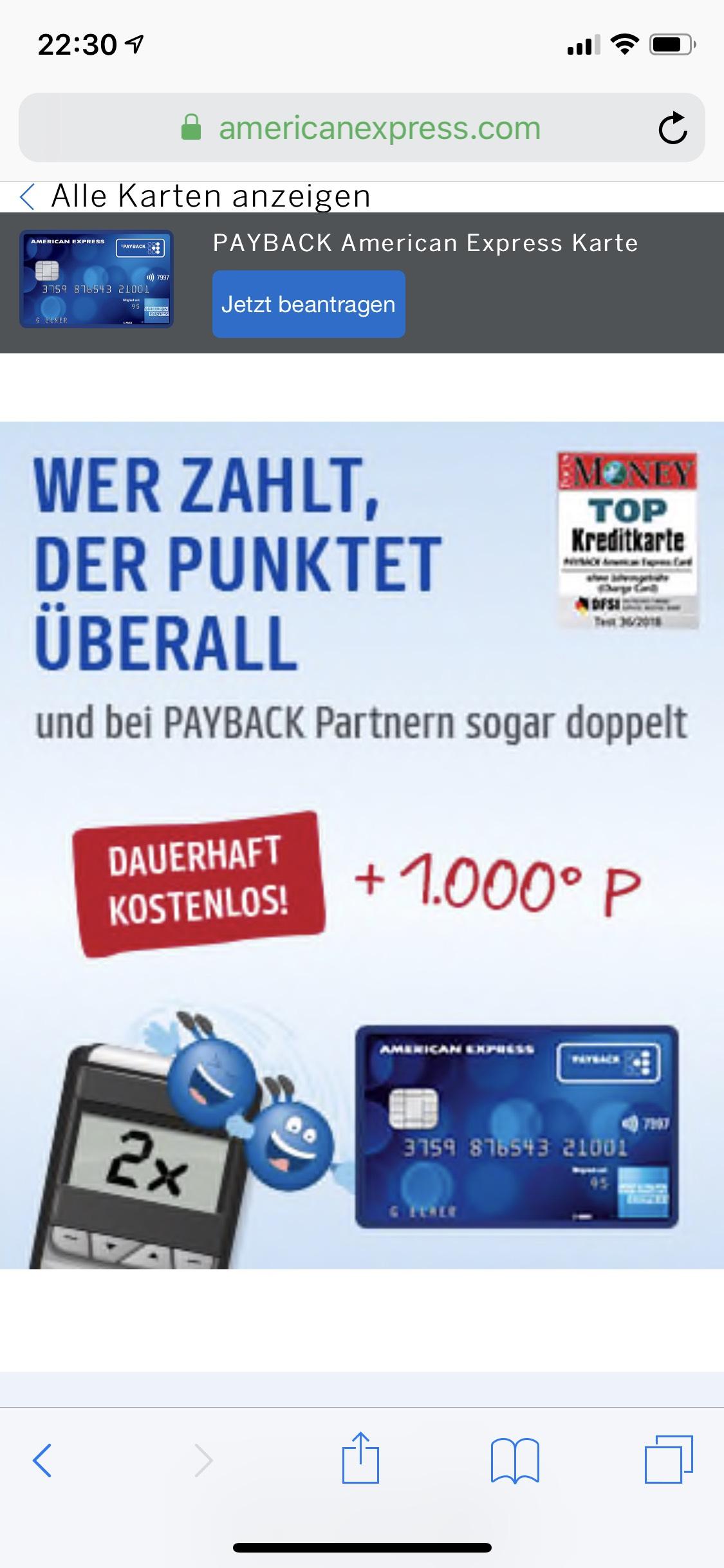 Amex Payback Kreditkarte kostenlos+1000 Punkte kostenlos erhalten!