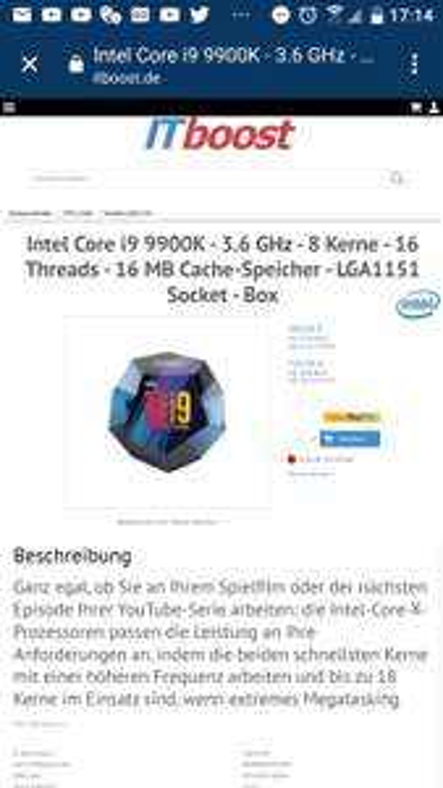 Intel 9900K unter 400€