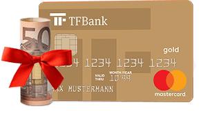50 € Neukundenbonus für die dauerhaft kostenlose TF Bank Mastercard GOLD (Kreditkarte inkl. Reiseversicherungen) bei Check24