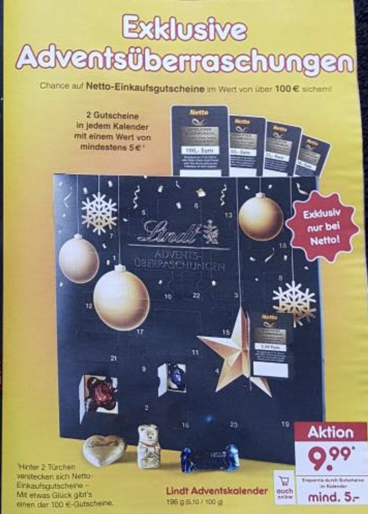 (Netto Marken-Discount) Lindt Adventskalender 196g mit mindestens 5€ Gutschein