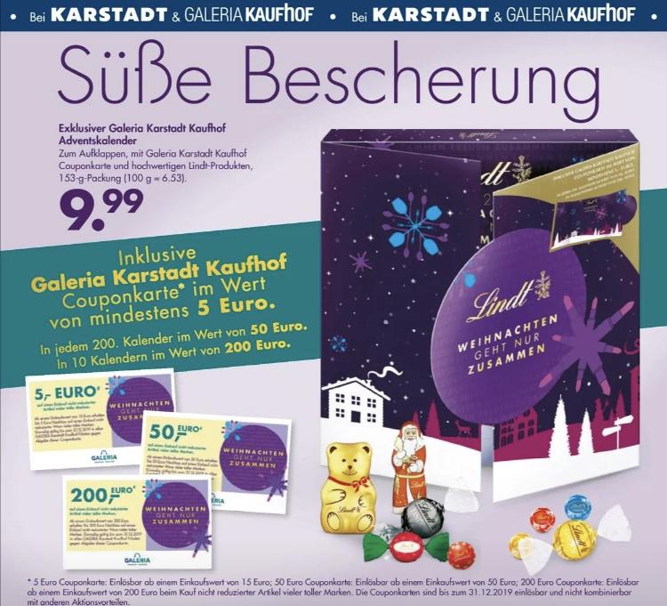 (Karstadt + Galeria Kaufhof) Lindt Adventskalender inkl. Couponkarte im Wert von mind. 5€